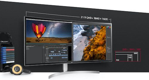 LG 38WK95C-W - curved monitor for video editing and gaming